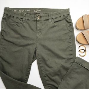 LOFT Ankle Crop Skinny Jeans Olive Green 8P 29P